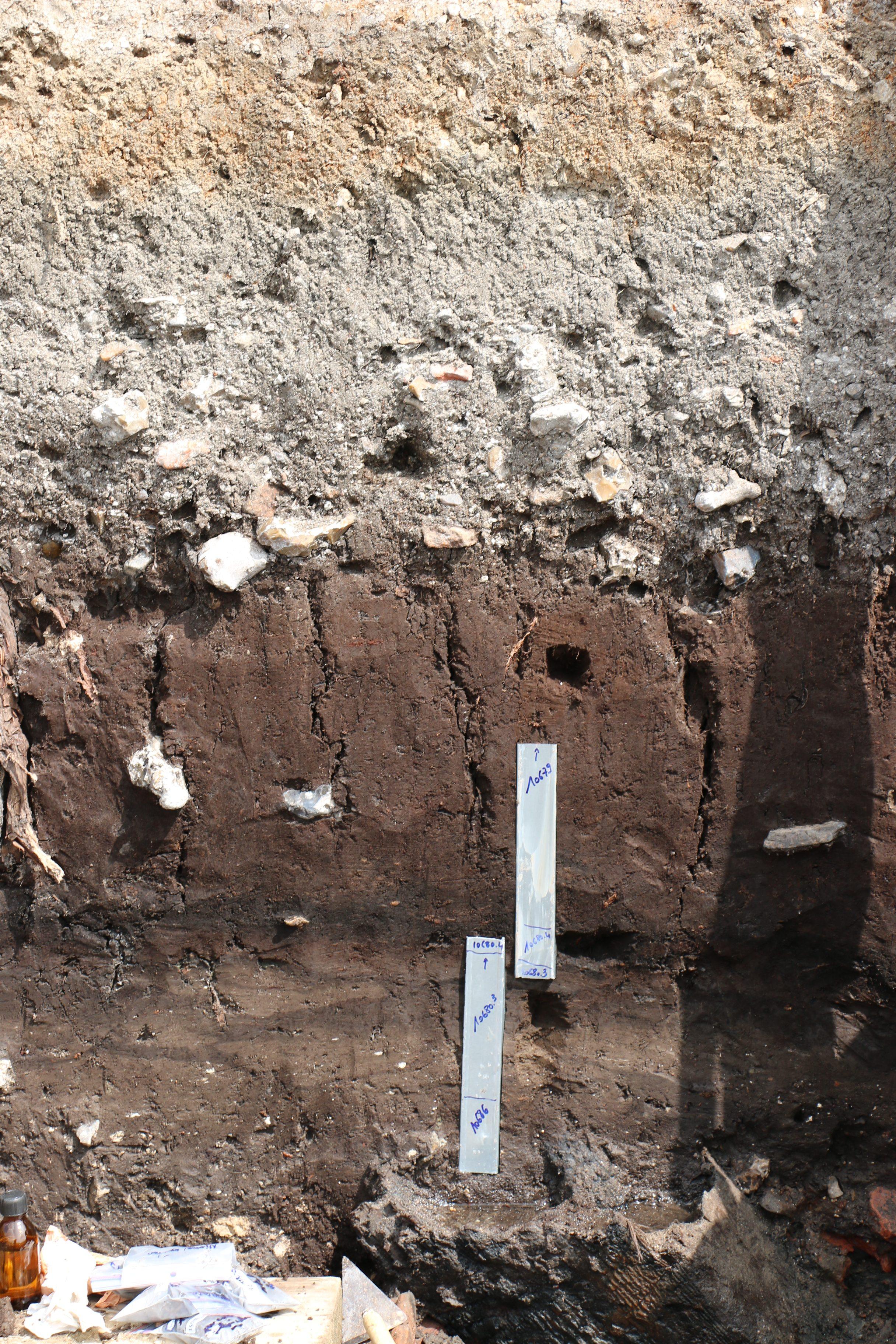 Prélèvement palynologique en stratigraphique, ARKEOMAP, Loïc GAUDIN